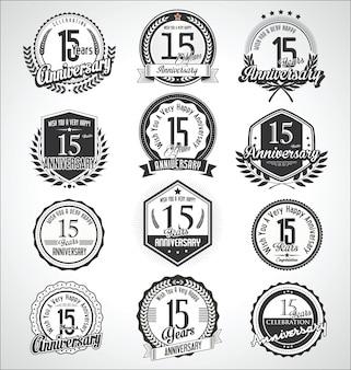 Retro vintage rocznica odznaki i etykiety kolekcji
