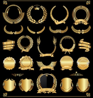Retro vintage złote etykiety i banery wektor zbioru