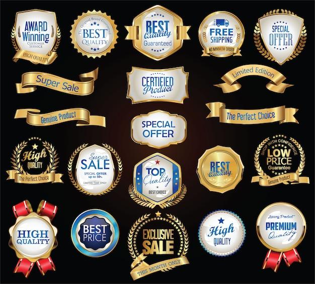 Retro vintage złote i niebieskie odznaki etykiety i wstążki