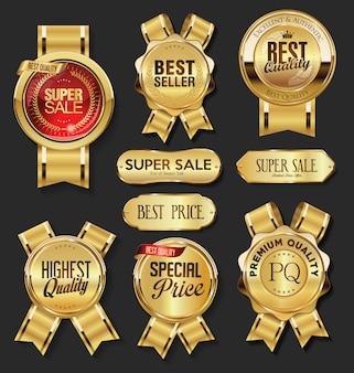 Retro vintage złote odznaki etykiety i tarcze