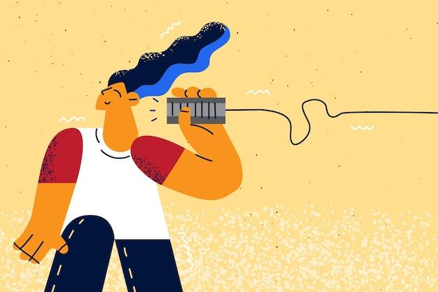 Retro w stylu ilustracji zabawki i technologie