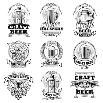 Retro wektor piwo pub emblematy. vintage tradycyjnych etykiet warzenia