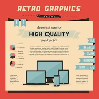 Retro wektor zestaw elementów infographic