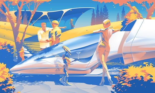 Retro wektorowa ilustracja scifi bogatych ludzi w życiu codziennym w 2079 r.