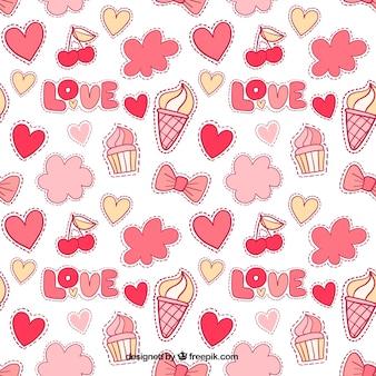 Retro wzór dekoracyjnych elementów miłosnych