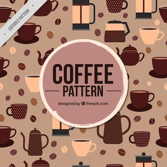Retro wzór dzbanek do kawy i ziarna kawy