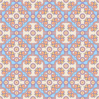 Retro wzór pomarańczowy i niebieski