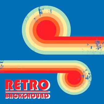 Retro wzór tła z skręconych kolorowych pasków i vintage grunge tekstur