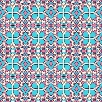 Retro wzór z niebieskimi kwiatami
