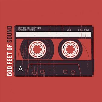 Retro z kasetą magnetofonową. t-shirt i odzież
