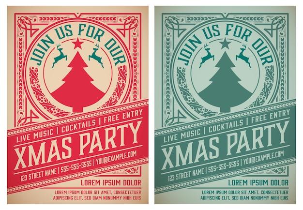Retro zaproszenie na przyjęcie świąteczne. wakacje projekt ulotki lub plakatu. warstwowy.