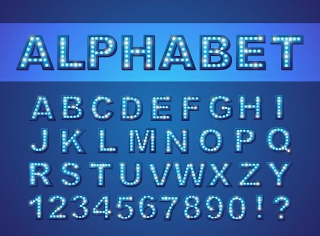 Retro żarówki jasny alfabet, czcionka wektorowa, czcionka lampy symbol, zestaw liter i cyfr.