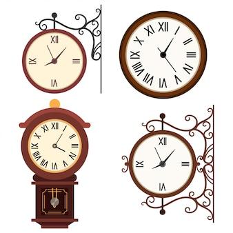 Retro zegar ścienny wektor kreskówka płaski zestaw ikon na białym tle.