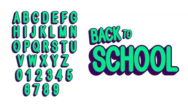 Retro, zestaw wielkich liter, czcionki i cyfry. nowoczesny zielony alfabet.