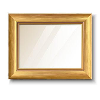 Retro złota rama z drewnianą teksturą