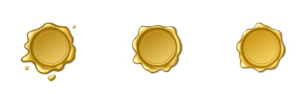 Retro złote pieczęcie woskowe. zestaw na białym tle znaczków do certyfikatu i dokumentu, listu, koperty. realistyczna ilustracja wektorowa