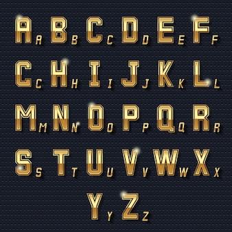 Retro złoty alfabet. metalowy symbol, rodzaj dekoracji, złożony wzór błyszczący