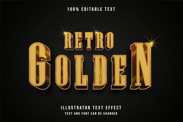 Retro złoty, edytowalny efekt tekstowy 3d nowoczesny styl tekstu złota