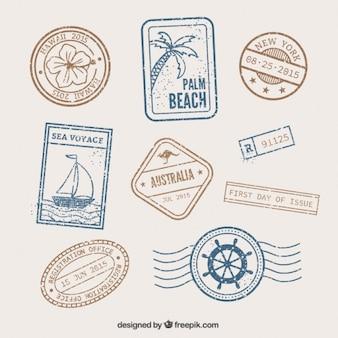 Retro znaczki morze