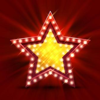 Retro znak świetlny gwiazda najlepsza godzina. transparent w stylu vintage. ilustracja wektorowa.