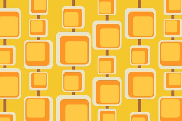 Retro żółte tło, geometryczny kwadratowy kształt wektora