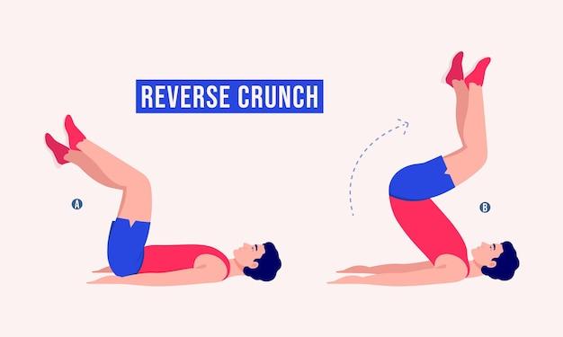 Reverse crunch ćwiczenie kobieta trening fitness aerobik i ćwiczenia
