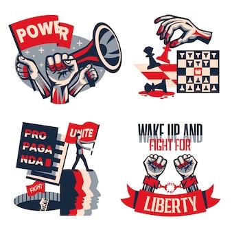 Rewolucyjne hasła polityczne koncepcja 4 vintage kompozycje konstruktywistyczne zestawione z wezwaniem do jedności wolności wolności na białym tle