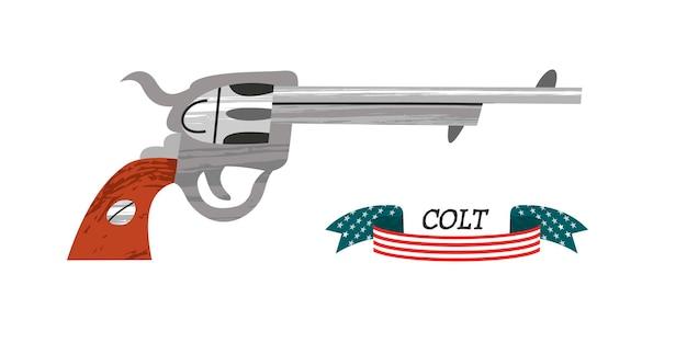 Rewolwer colta. starożytna broń. amerykański rewolwer.