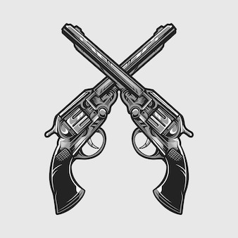 Rewolwer pistolet pistolet wektor ilustracja na białym tle