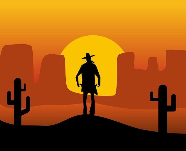 Rewolwerowiec z dzikiego zachodu. tło pustyni. ilustracja wektorowa płaski kolor