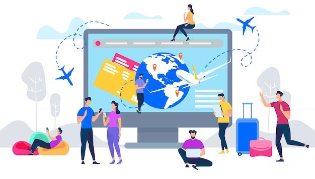 Rezerwacja biletów lotniczych online płaski wektor koncepcja