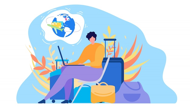 Rezerwacja biletów lotniczych online płaskie wektor koncepcja