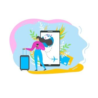 Rezerwacja biletów lotniczych z mobile vector flat vector