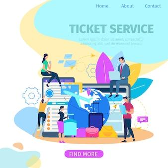 Rezerwacja biletów usługi płaski wektor web banner