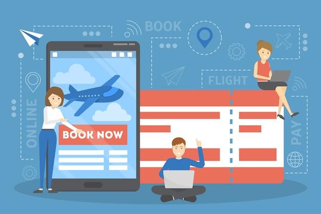 Rezerwacja biletu lotniczego online na urządzeniu. koncepcja lotu i podróży. planowanie wakacji letnich. ilustracja