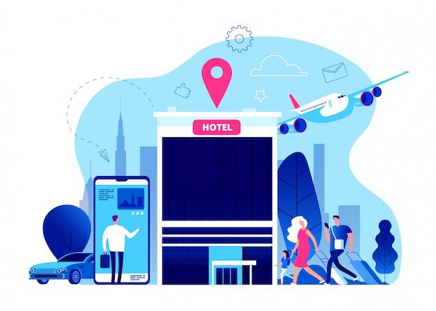 Rezerwacja hotelu. online rezerwacja budżetu hoteli z internetem, telefon komórkowy nowoczesny urlop wakacje koncepcja