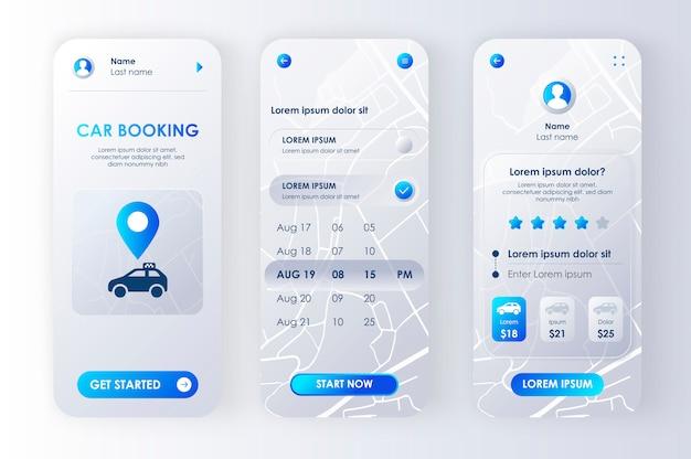 Rezerwacja samochodu unikalny zestaw neomorficzny dla aplikacji. interfejs usługi udostępniania samochodu, zestaw szablonów ux. ekrany samochodowe do wypożyczenia online z cenami, terminarzem i oceną. gui dla responsywnej aplikacji mobilnej.