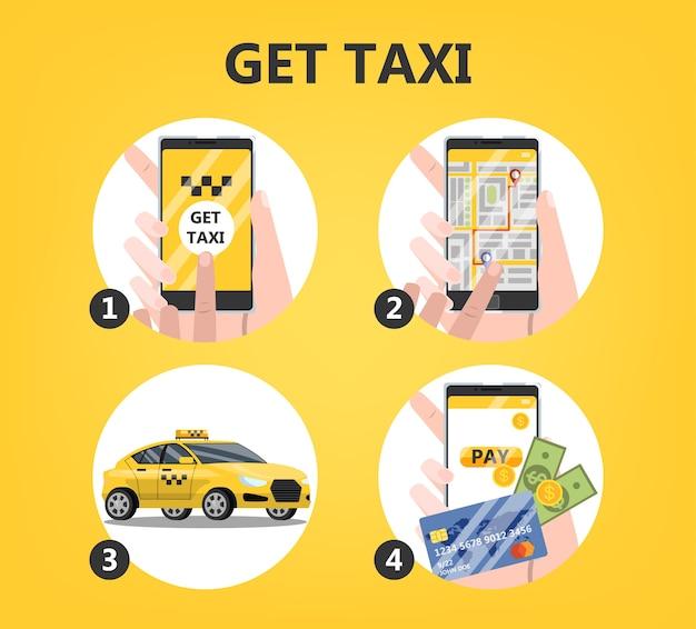 Rezerwacja taksówki online krok po kroku. zamów samochód w aplikacji na telefon komórkowy. idea transportu i połączenia internetowego. ilustracja na białym tle płaski wektor