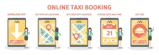Rezerwacja taksówki online krok po kroku. zamów samochód w aplikacji na telefon komórkowy. idea transportu i połączenia internetowego.