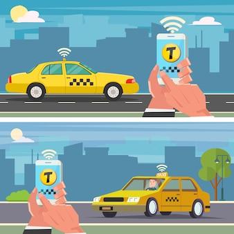 Rezerwacja taksówki za pomocą aplikacji mobilnej