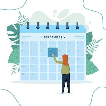 Rezerwacja terminu z kalendarzem i kobietą