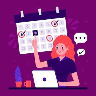 Rezerwacja terminu z kobietą i laptopem