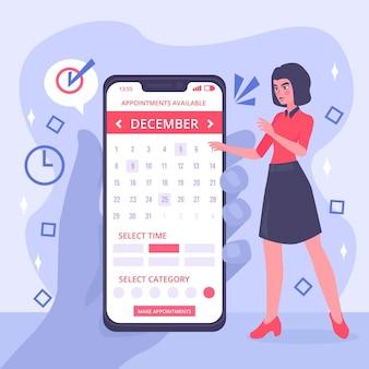 Rezerwacja terminu z kobietą i smartfonem