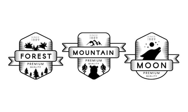 Rezerwat przyrody zarys wektor logo zestaw. symbole parków rekreacyjnych. etykiety sylwetki najwyższej jakości