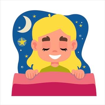 Rgbmała piękna blondynka śpi w swoim łóżku i widzi sen chmura z gwiazdami i księżycem