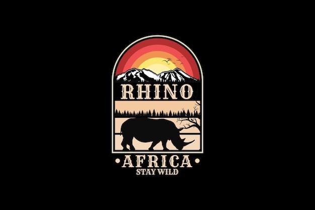 Rhino afryka, projekt sylwetka w stylu retro