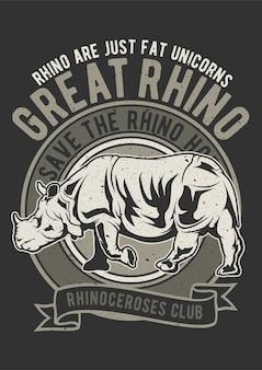 Rhino, plakat vintage ilustracji.