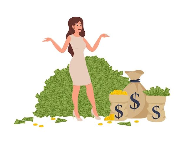 Rich wonan płaski element komiksu z komiksu z bogatą kobietą kąpiącą się w milionerze