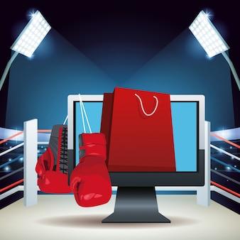 Ring bokserski z kolorowym banerem sprzedaży boks online z rękawicami bokserskimi, komputerem i torbą na zakupy