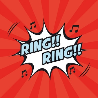 Ring ring note musical pop art